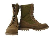 Military desert combat boots Stock Photos