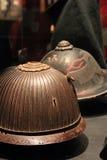 Japanese battle helmets stock image