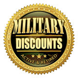 Military Discount Seal. Gold and camouflage badge icon to promote discounts for enlisted active duty and retired military personnel Royalty Free Stock Images
