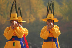 Military display, Seoul, South Korea. Lines of military personnel in traditional uniform drill at the war memorial in Seoul, South Korea Stock Photos