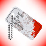 Military Dog Tag on Grey Background Royalty Free Stock Images