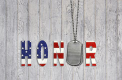 Military dog tag with honor Royalty Free Stock Photo