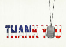 Military dog tag thank  you Stock Photography