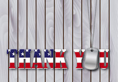 Military dog tag thank you with flag Stock Images