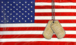 Military dog tags with U.S. Constitution Royalty Free Stock Photography