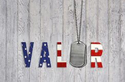 Military dog tags with valor Stock Photo