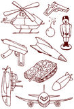 Military doodles. Collection of military doodles Royalty Free Stock Photos