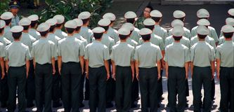 Military drill. In China, rear view Royalty Free Stock Images