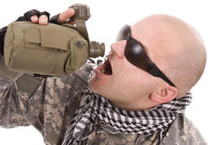 Military drinking Royalty Free Stock Photo