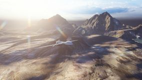 A military drone flies over a deserted plain on a Sunny day. 3D Rendering. A military drone flies over a deserted plain on a Sunny day royalty free stock photos