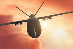 Military drone flight motion blur on red sunset background. Close up view.  royalty free stock photos