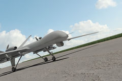 Military Drone on ground. With blue sky vector illustration