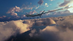 Military Drone launching missiles, above morning clouds, zoom in