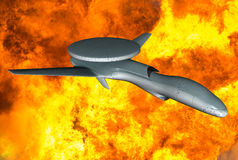 Military Drone Strike Fire Explosion Concept. Concept for a military drone strike aircraft. Drones are a new technology being used in war and warfare to help Stock Photos