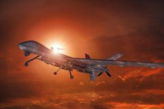 Military Drone Takeoff. In the Sunset 3D Illustration royalty free illustration