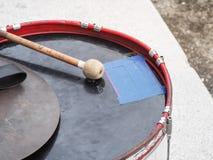 Military drum Bass drum with drum sticks. Retro percussion musical instrument. Military drum Bass drum with drum sticks royalty free stock photos