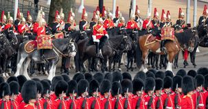 Military drum horses taking part in the Trooping the Colour military ceremony at Horse Guards, London UK stock images