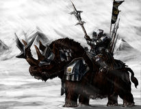 Military dwarf on a Rhino. Dwarf warrior in the North on an armored battle Rhino Stock Photos