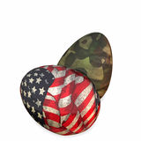 Military Easter Eggs. Colorful Easter eggs in military and patriotic designs stock illustration