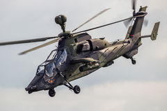 Military EC665 Tigre attack helicopter. BERLIN - JUN 2, 2016: German Army Airbus/Eurocopter EC-665 Tiger attack helicopter flyby during the Berlin Airshow ILA at Royalty Free Stock Photography