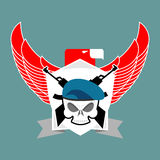 Military emblem Skull in beret.  Wings and weapons. Army logo. S Stock Photography