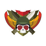 Military emblem Skull in beret.  Wings and weapons. Army logo. S Royalty Free Stock Photo