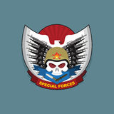 Military Emblem with a skull and the weapon, Stock Image
