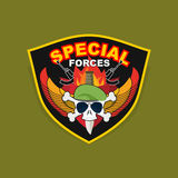 Military Emblem with a skull and the weapon, Wings on shield. wa. Military Emblem with a skull and the weapon. Wings on shield. war logo special force Stock Photos
