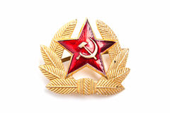 Military emblem of the USSR. Cockarde-emblem of a military headdress of the USSR on a white background Royalty Free Stock Photos