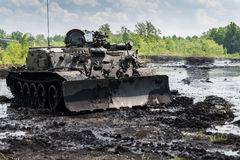 Military engineering vehicle on battlefield Stock Photography
