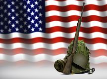 Military Equipment and American Flag. Background Stock Photos