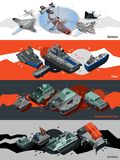 Military Equipment Banners Isometric Royalty Free Stock Image