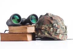 Military equipment with binoculars and helmet islolated Stock Photos