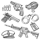 Military Equipment Collection. Different kinds of military equipment in sketch style. It contains hi-res JPG, PDF and Illustrator 9 files Stock Photo