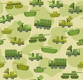 Military equipment, colored background. Vector seamless background with military equipment spotted in the field khaki color. Colored, flat picture Royalty Free Stock Photos