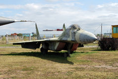 Military equipment costs under the open sky. Exhibit of the Technical museum K.G. Sakharova in the city of Togliatti. Samara region. Russia Royalty Free Stock Images