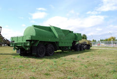 Military equipment costs under the open sky. Exhibit of the Technical museum K.G. Sakharova in the city of Togliatti. Samara region. Russia Royalty Free Stock Photos