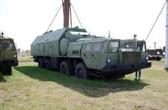 Military equipment costs under the open sky. Exhibit of the Technical museum K.G. Sakharova in the city of Togliatti. Samara region. Russia Stock Image