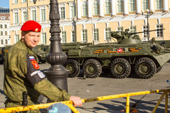 Military equipment deployed near Palace Square in preparation for the military parade on May 9. Royalty Free Stock Photos