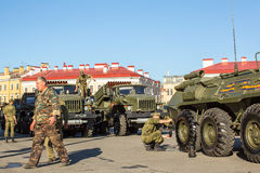 Military equipment deployed near Palace Square in preparation for the military parade on May 9. Stock Photo