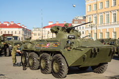 Military equipment deployed near Palace Square in preparation for the military parade on May 9. Royalty Free Stock Image