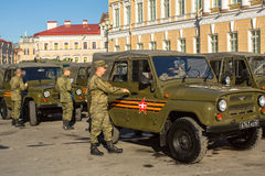 Military equipment deployed near Palace Square in preparation for the military parade on May 9. Stock Images