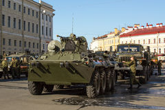 Military equipment deployed near Palace Square in preparation for the military parade on May 9. Stock Photography