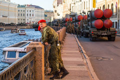 Military equipment deployed near Palace Square in preparation for the military parade on May 9. Stock Photos