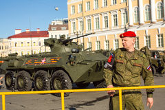 Military equipment deployed near Palace Square in preparation for the military parade on May 9. Stock Image