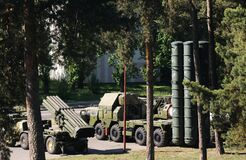 Military equipment in the forest