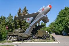 Military equipment of the Great Patriotic War in the park victory Cheboksary, Chuvash Republic, Russia. 06/01/2016 Stock Image