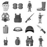 Military equipment icons set gray monochrome style. Military equipment icons set. Gray monochrome illustration of 16 military equipment vector icons for web Stock Photos