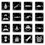 Military equipment icons set, grunge style. Military equipment icons set. Grunge illustration of 16 military equipment vector icons for web Stock Image