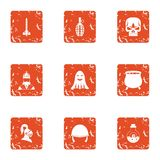 Military equipment icons set, grunge style. Military equipment icons set. Grunge set of 9 military equipment vector icons for web isolated on white background Stock Images